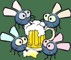 so hot the flies are sharing a mug of beer