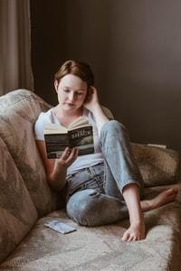 person engaged reading