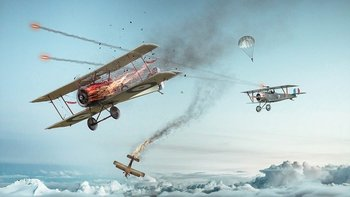 WW1 two airplanes dog fight